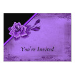 Old Fashion Purple Rose Floral 5x7 Paper Invitation Card