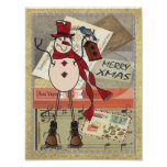 Old Fashion Red Postage Snowman Poster