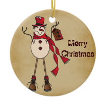 Old Fashion Red Snowman Ceramic Ornament