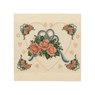 Old Fashion Roses Wood Wall Art