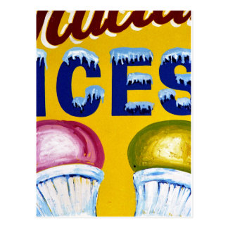 Old Fashion Signs: ICES! Postcard