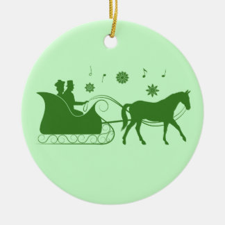 Old-Fashion Sleigh Christmas in Silhouette Ceramic Ornament