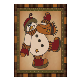 Old Fashion Styled Snowman Art in Plaid Poster