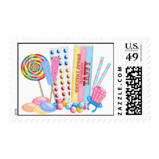 Old Fashion Sweet Shoppe Postage Stamps