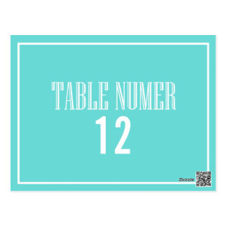 Old Fashion Table Number Postcard - Tiffany Blue