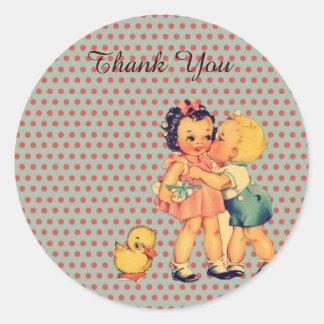 Old Fashion Valentine  retro kids birthday party Classic Round Sticker