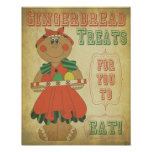 Old Fashion Vintage Gingerbread Girl Posters