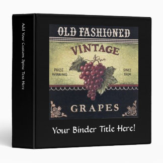 Old Fashion Vintage Grapes, Purple and Black Wine 3 Ring Binders