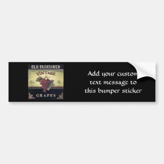 Old Fashion Vintage Grapes Purple and Black Wine Bumper Stickers