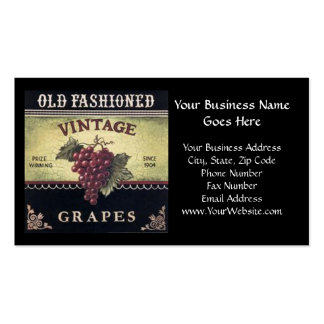 Old Fashion Vintage Grapes, Purple and Black Wine Double-Sided Standard Business Cards (Pack Of 100)