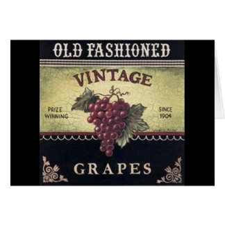 Old Fashion Vintage Grapes, Purple and Black Wine Card