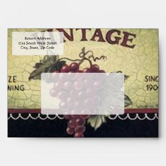Old Fashion Vintage Grapes, Purple and Black Wine Envelope