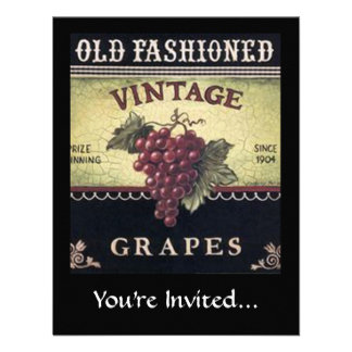 Old Fashion Vintage Grapes, Purple and Black Wine Announcement
