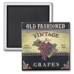 Old Fashion Vintage Grapes, Purple and Black Wine Fridge Magnets