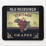 Old Fashion Vintage Grapes, Purple and Black Wine Mouse Pad