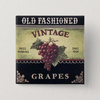 Old Fashion Vintage Grapes, Purple and Black Wine Pinback Button