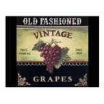 Old Fashion Vintage Grapes, Purple and Black Wine Postcard
