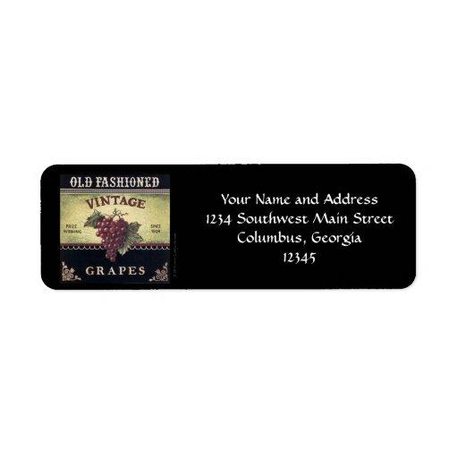 Old Fashion Vintage Grapes, Purple and Black Wine Return Address Label