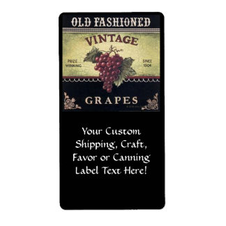 Old Fashion Vintage Grapes, Purple and Black Wine Shipping Label