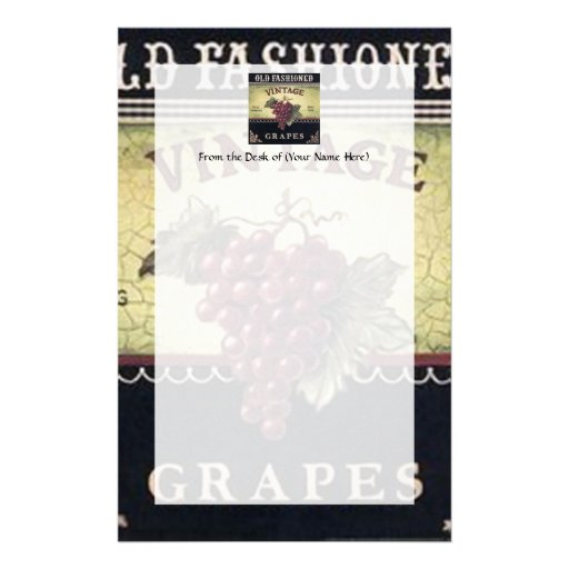 Old Fashion Vintage Grapes, Purple and Black Wine Stationery Paper