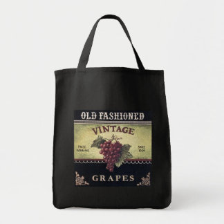 Old Fashion Vintage Grapes, Purple and Black Wine Tote Bag