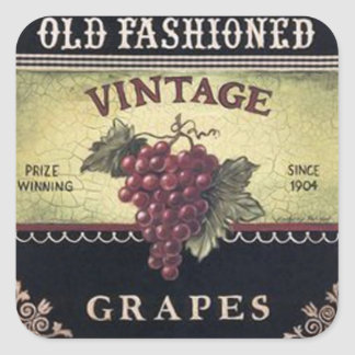 Old Fashion Vintage Grapes Wine Crate Label