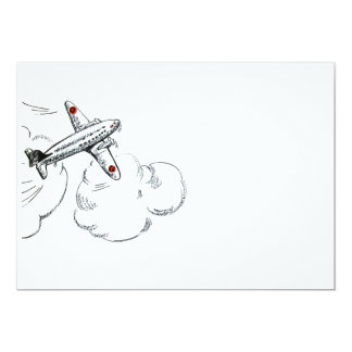 Old Fashioned Airplane Drawing 5x7 Paper Invitation Card