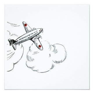 Old Fashioned Airplane Drawing 5.25x5.25 Square Paper Invitation Card