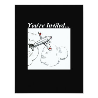 Old Fashioned Airplane Drawing 4.25x5.5 Paper Invitation Card