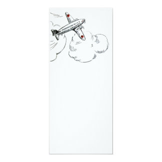 Old Fashioned Airplane Drawing 4x9.25 Paper Invitation Card
