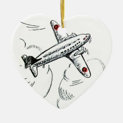 Old Fashioned Airplane Drawing Ornaments