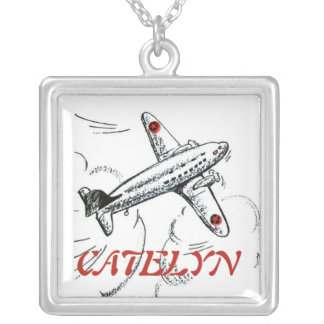 Old Fashioned Airplane Drawing Silver Plated Necklace
