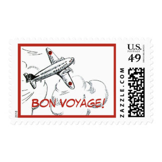 Old Fashioned Airplane Drawing Stamp