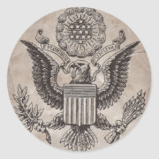 Old Fashioned American Coat of Arms Classic Round Sticker