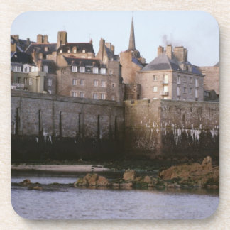 Old-fashioned architecture, Brittany, France Beverage Coaster