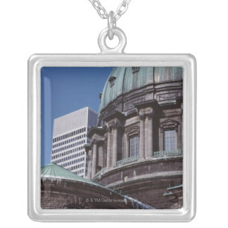 Old-fashioned architecture, cropped silver plated necklace