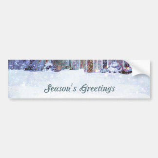 Old-fashioned art, Snow scene, Home at Christmas Car Bumper Sticker