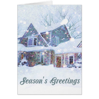 Old-fashioned art, Snow scene, Home at Christmas Card