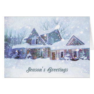 Old-fashioned art, Snow scene, Home at Christmas Greeting Card