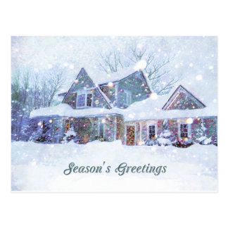 Old-fashioned art, Snow scene, Home at Christmas Postcard