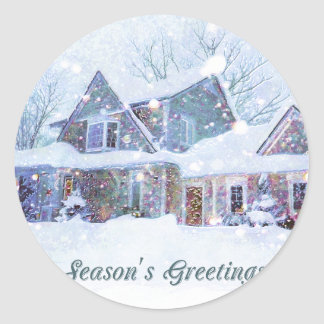 Old-fashioned art, Snow scene, Home at Christmas Classic Round Sticker
