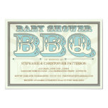 Old Fashioned Baby Shower BBQ in Blue Invitation