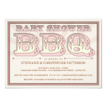 Old Fashioned Baby Shower BBQ in Pink Invitation