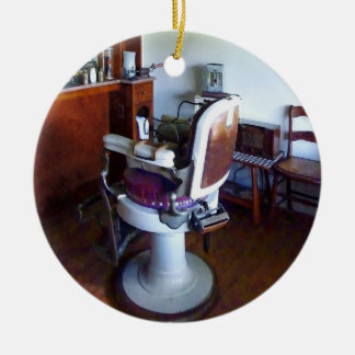 Old-Fashioned Barber Chair Ceramic Ornament