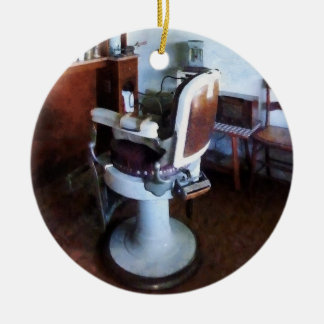 Old Fashioned Barber Chair Double-Sided Ceramic Round Christmas Ornament