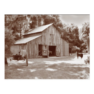 Old Fashioned Barn Postcard in Sepia