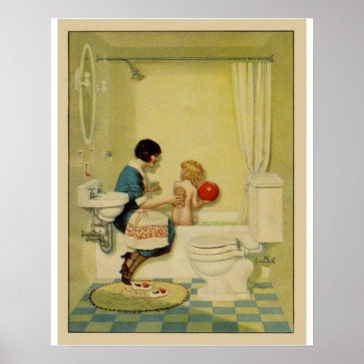 Old fashioned bathroom scene poster zazzle for Bathroom scenes photos