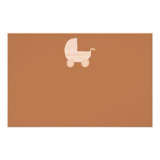 Old Fashioned Beige Baby Stroller on Brown. Flyer