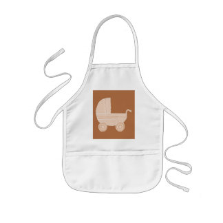 Old Fashioned Beige Baby Stroller on Brown. Kids' Apron