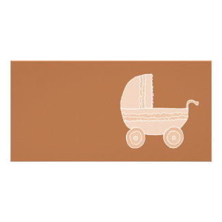 Old Fashioned Beige Baby Stroller on Brown. Photo Card